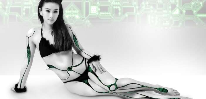 Asian woman with robotic body