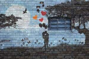 Mural of a couple kissing